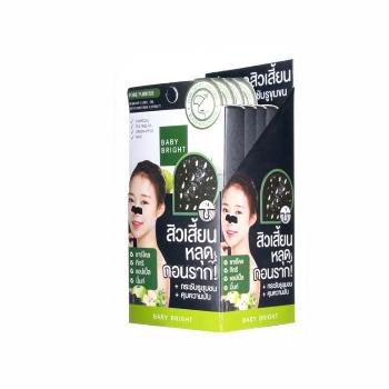 Очищающие полоски от черных точек для носа Charcoal & Tea Tree Nose Cleansing Strip, Baby Bright, 1 уп.*4 коробки
